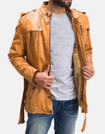hunter tan brown fur leather jacket