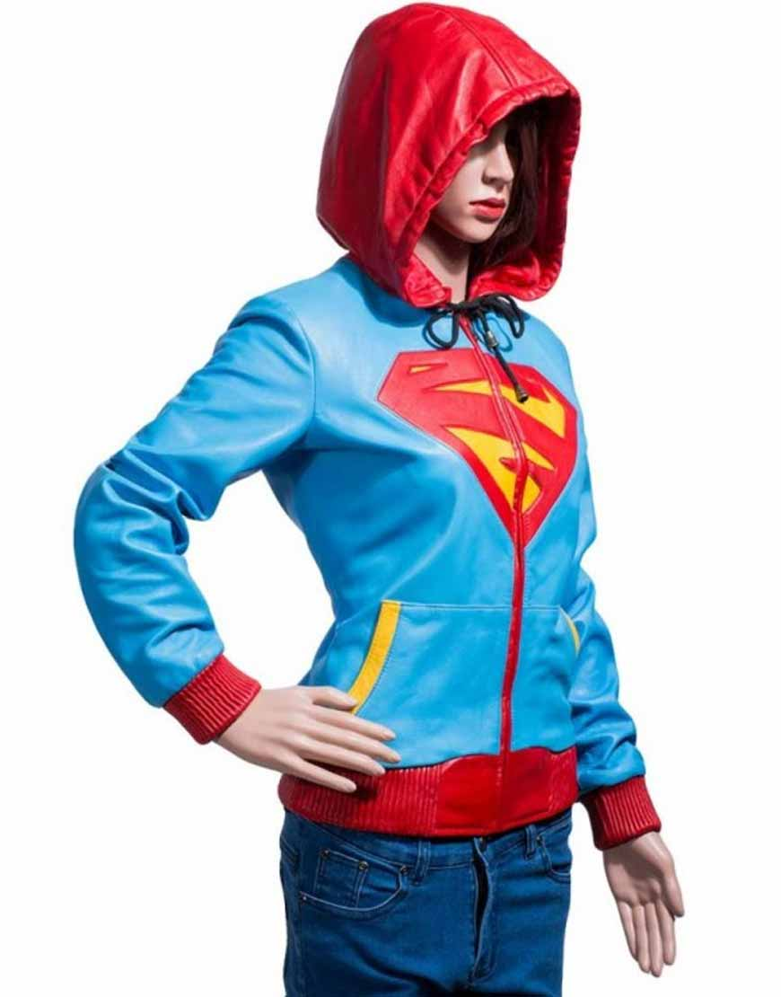 supergirl leather hoodie
