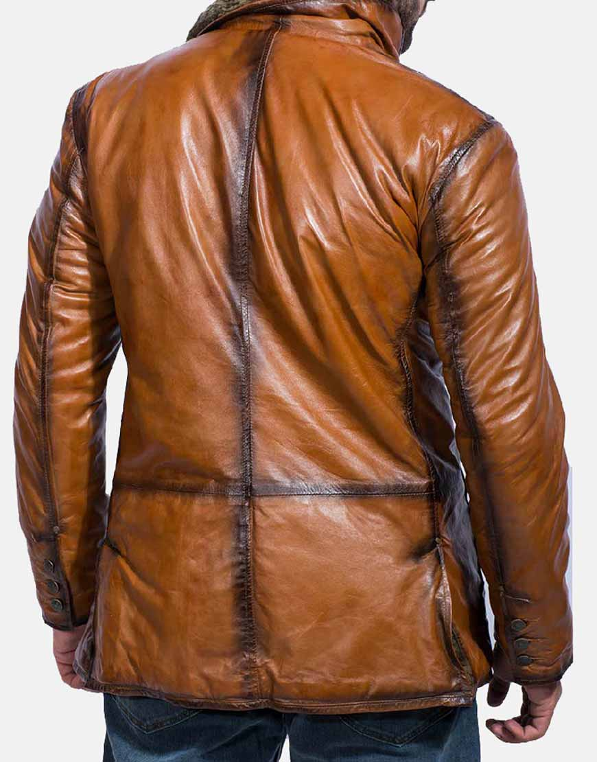 rocky brown leather coat