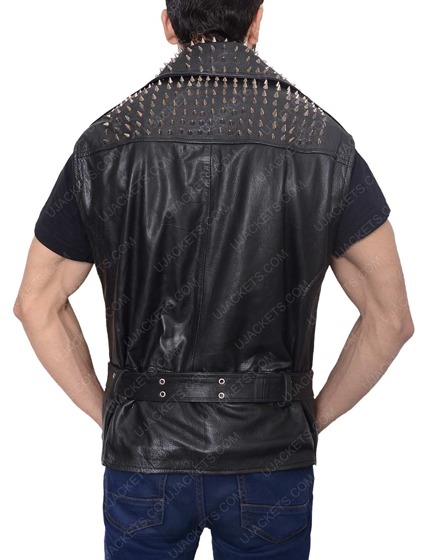 men's belted studded black vest