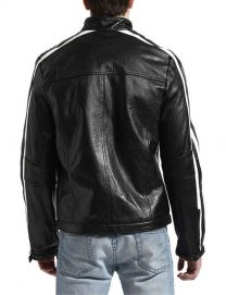 striped motorcycle black jacket