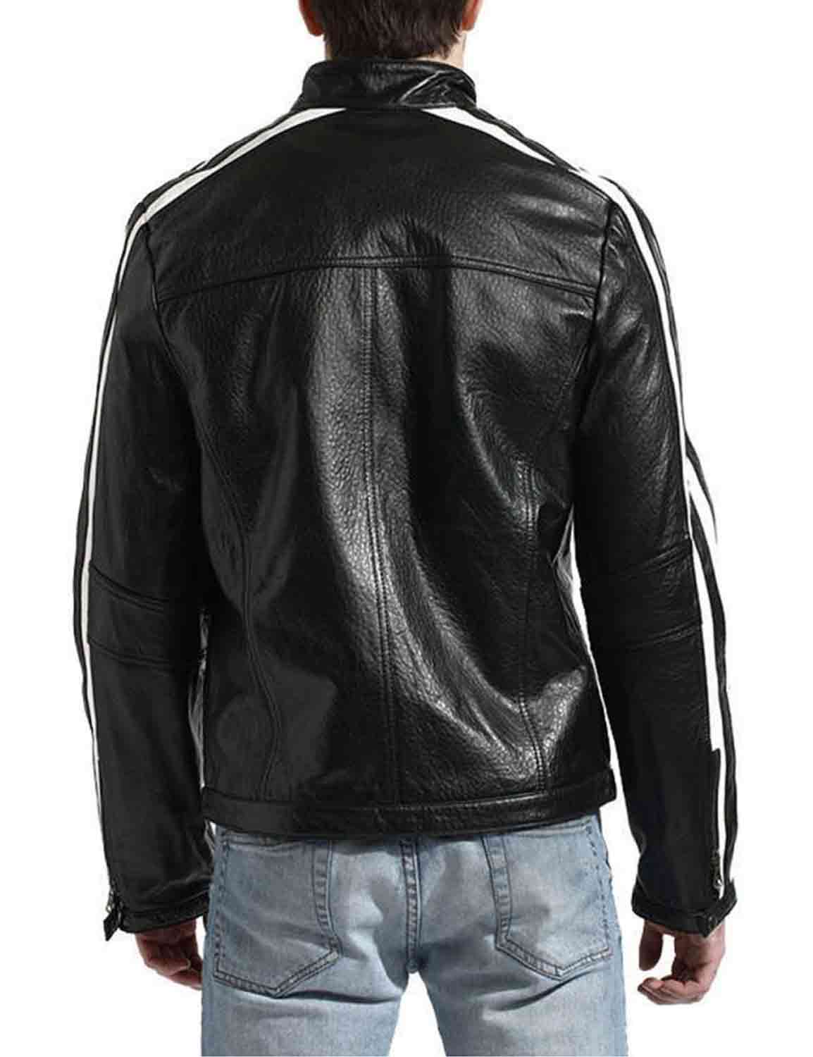 striped motorcycle black jacket