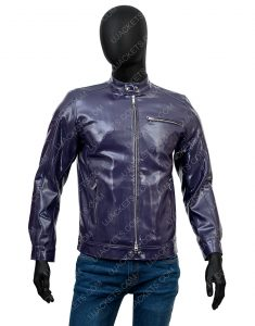 Men's Casual Snap Tab Collar Biker Leather Jacket