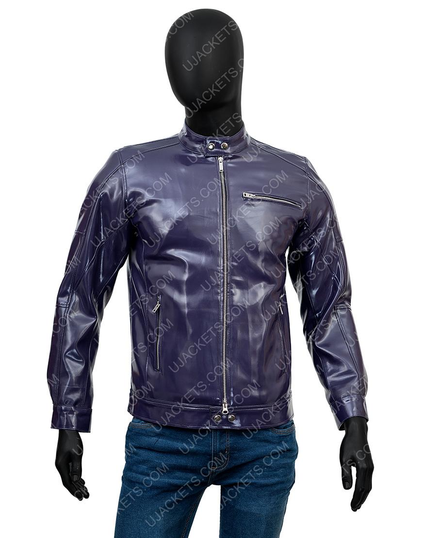 Men's Casual Snap Tab Collar Biker Leather Jacket
