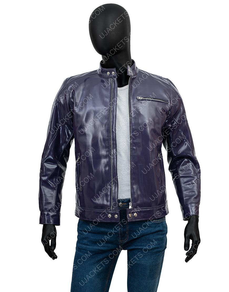 Men's Casual Snap Tab Collar Purple Biker Leather Jacket