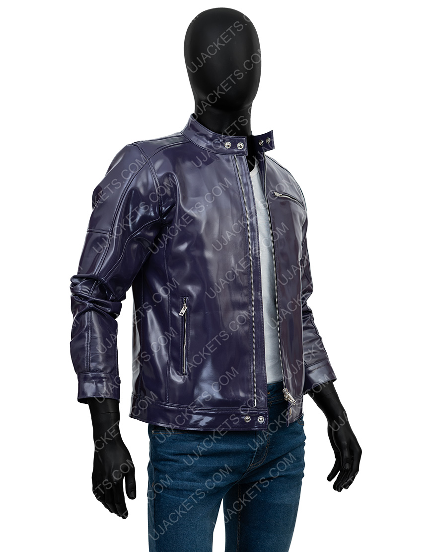 Men's Casual Snap Tab Collar Purple Leather Jacket