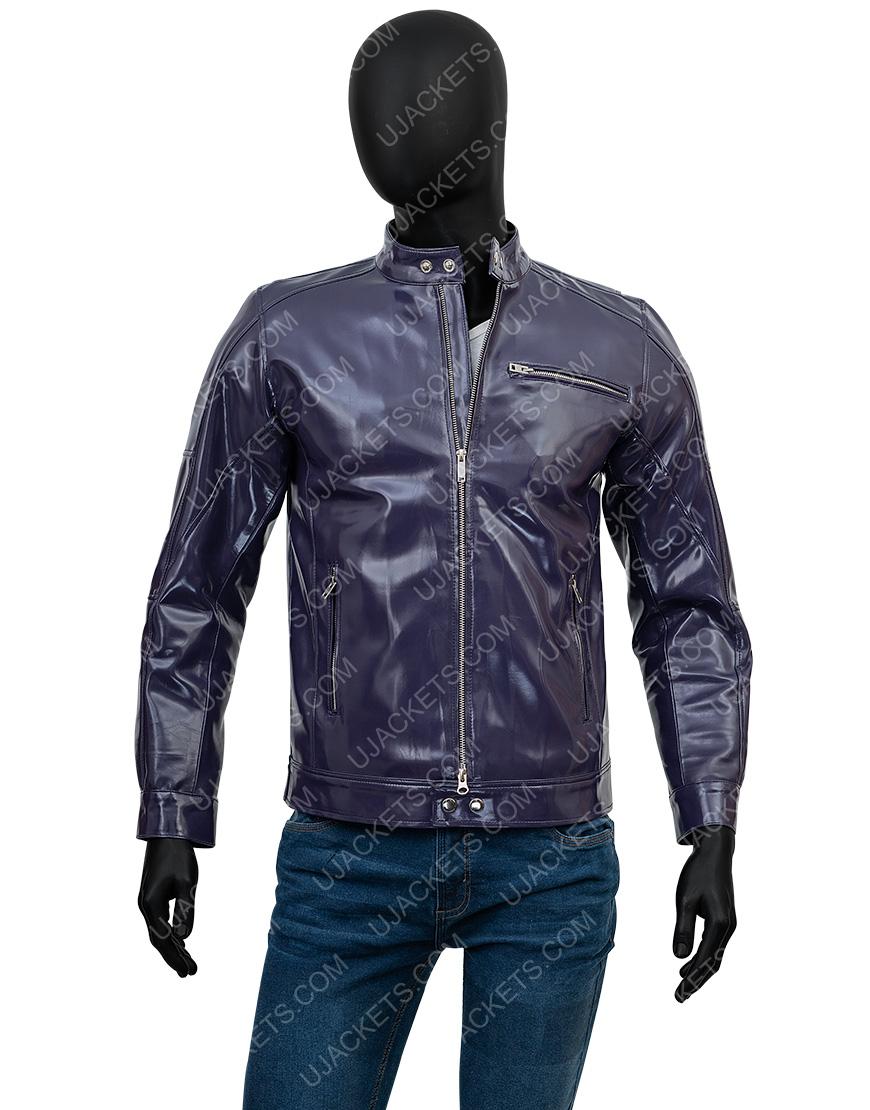 Men's Casual Tab Collar Purple Biker Leather Jacket
