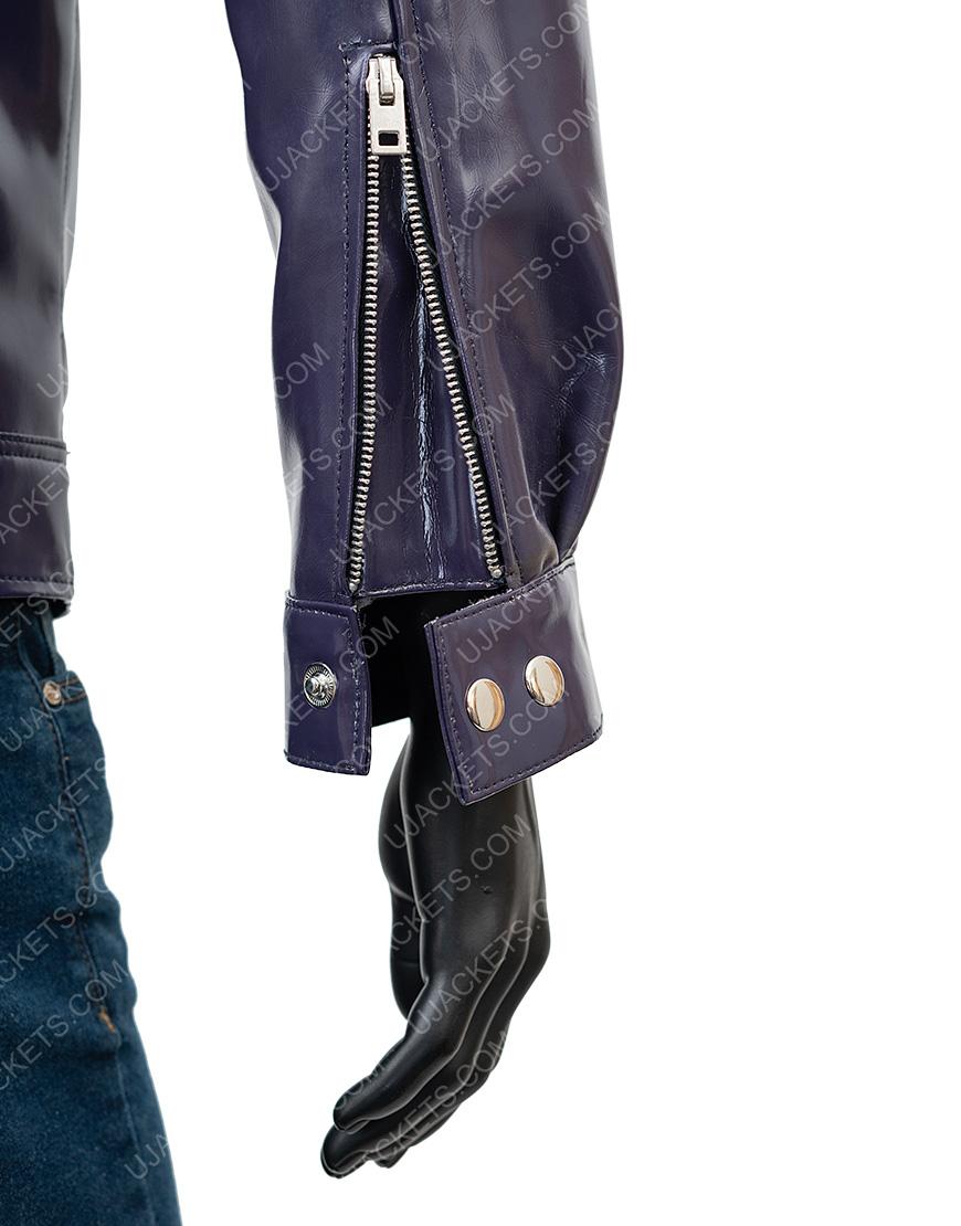 Men's Snap Tab Collar Purple Biker Leather Jacket