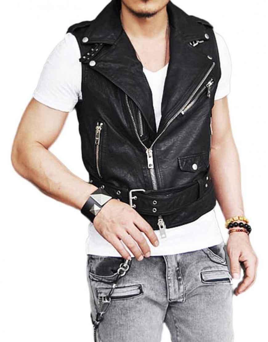 style belted black vest