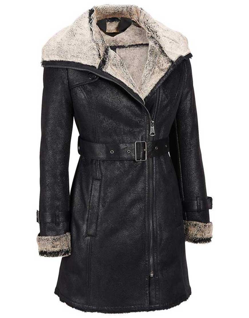 womens black moto style coat