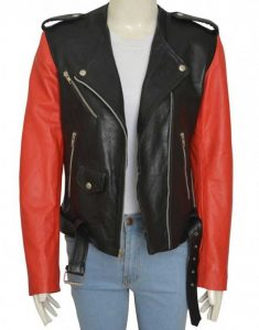 Belted Red And Black Hailey Baldwin Jacket