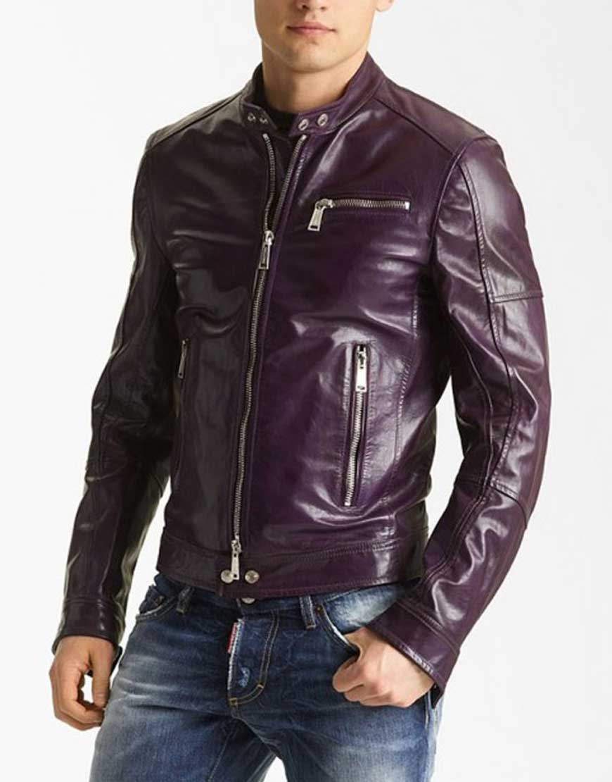 mens casual purple leather jacket