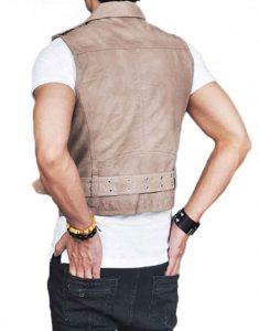 Men's Asymmetrical Belted Black Leather Vest