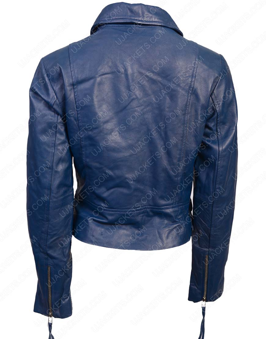 womens lambskin blue leather jacket