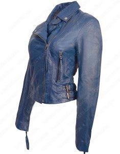 womens lambskin blue jacket