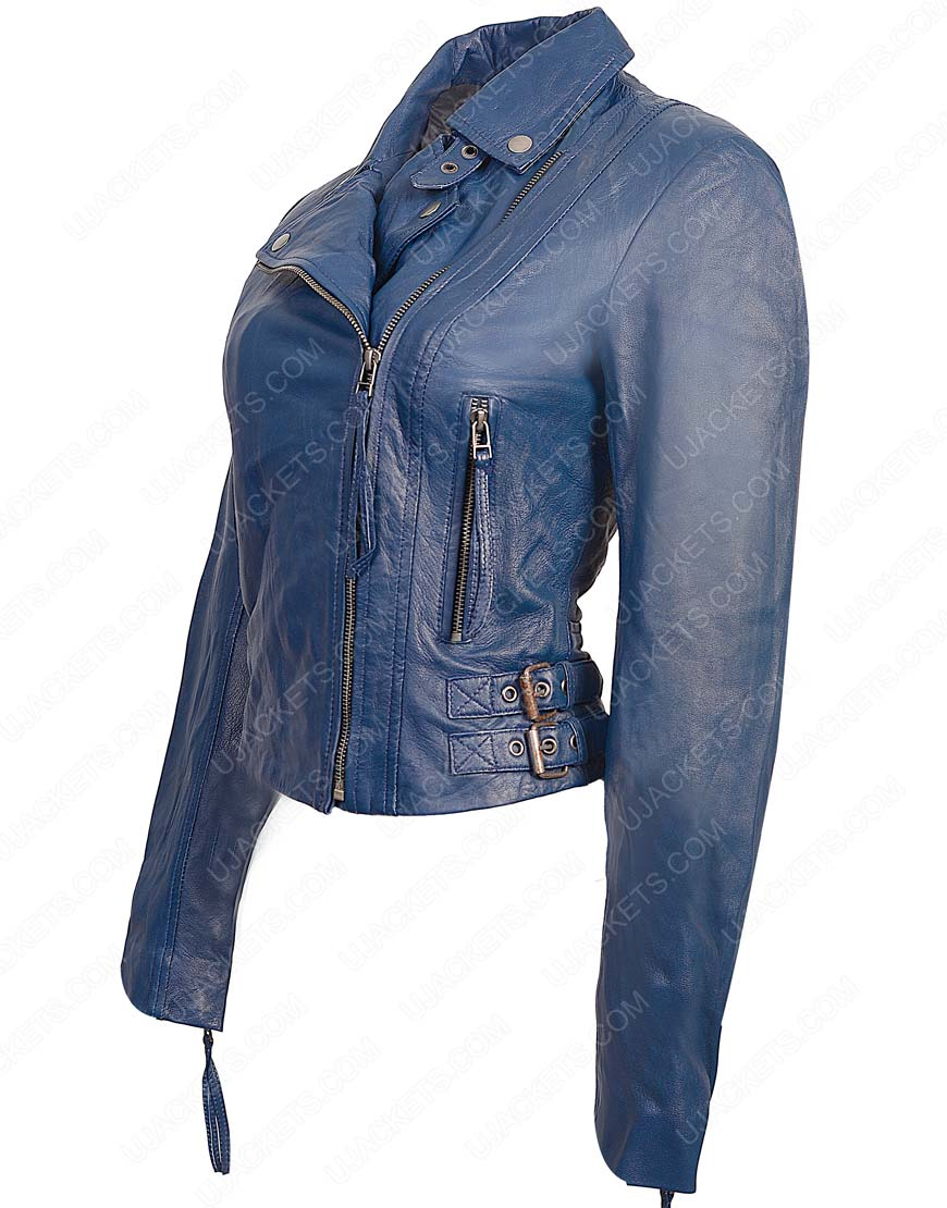womens lambskin blue jacket