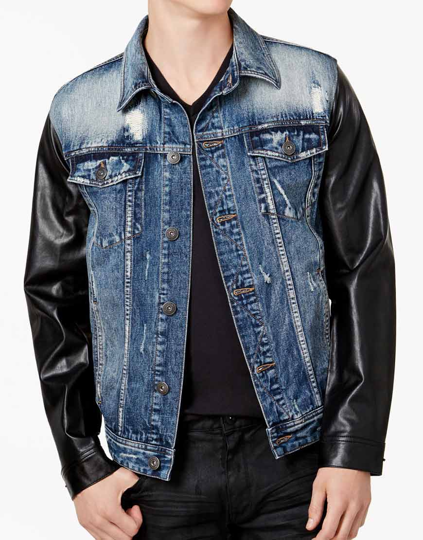 blue denim jacket mens  faux leather black sleeves