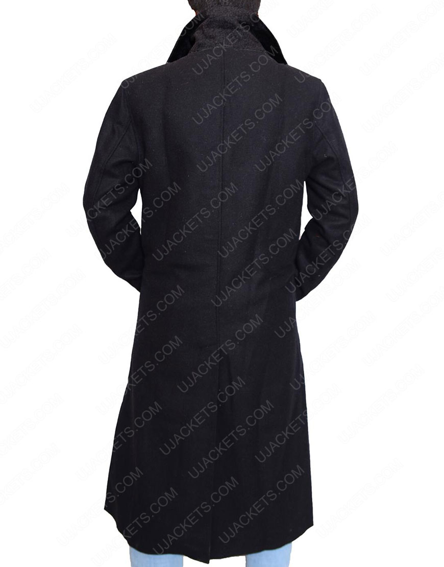 altered carbon black wool coat