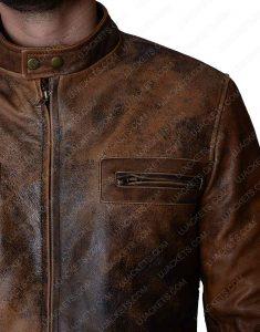Mens Brown Distressed Jacket