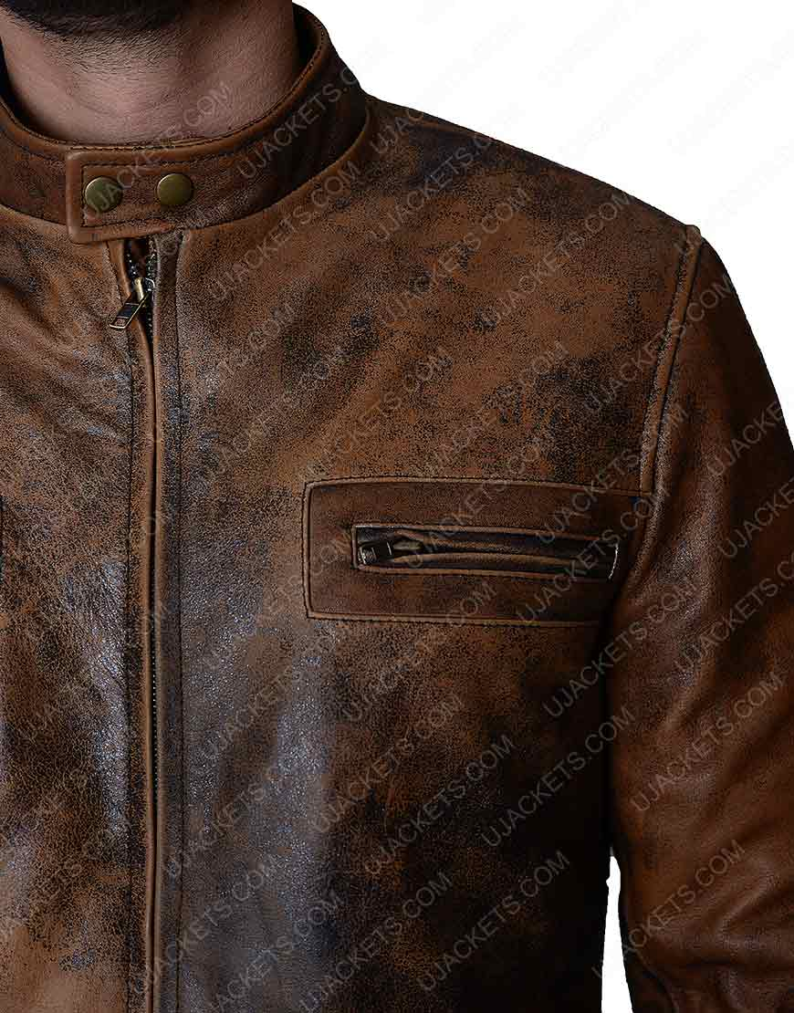 Mens Brown Distressed Jacket