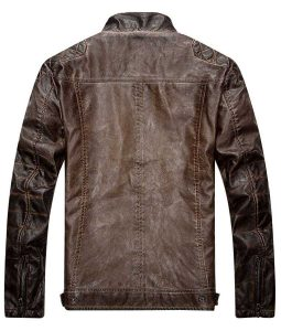 Mens Distressed Brown Quilted leather Jacket