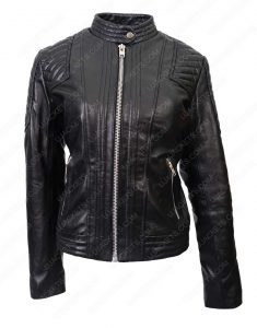 Womens Black Quilted Moto Jacket