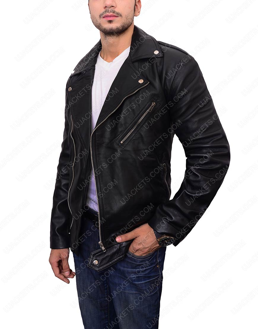 adam levine black leather jacket