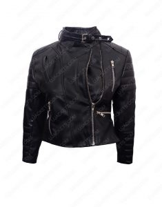 womens cropped biker leather jacket