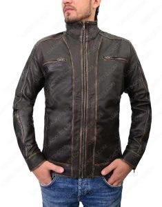 mens distressed brown café racer jacket