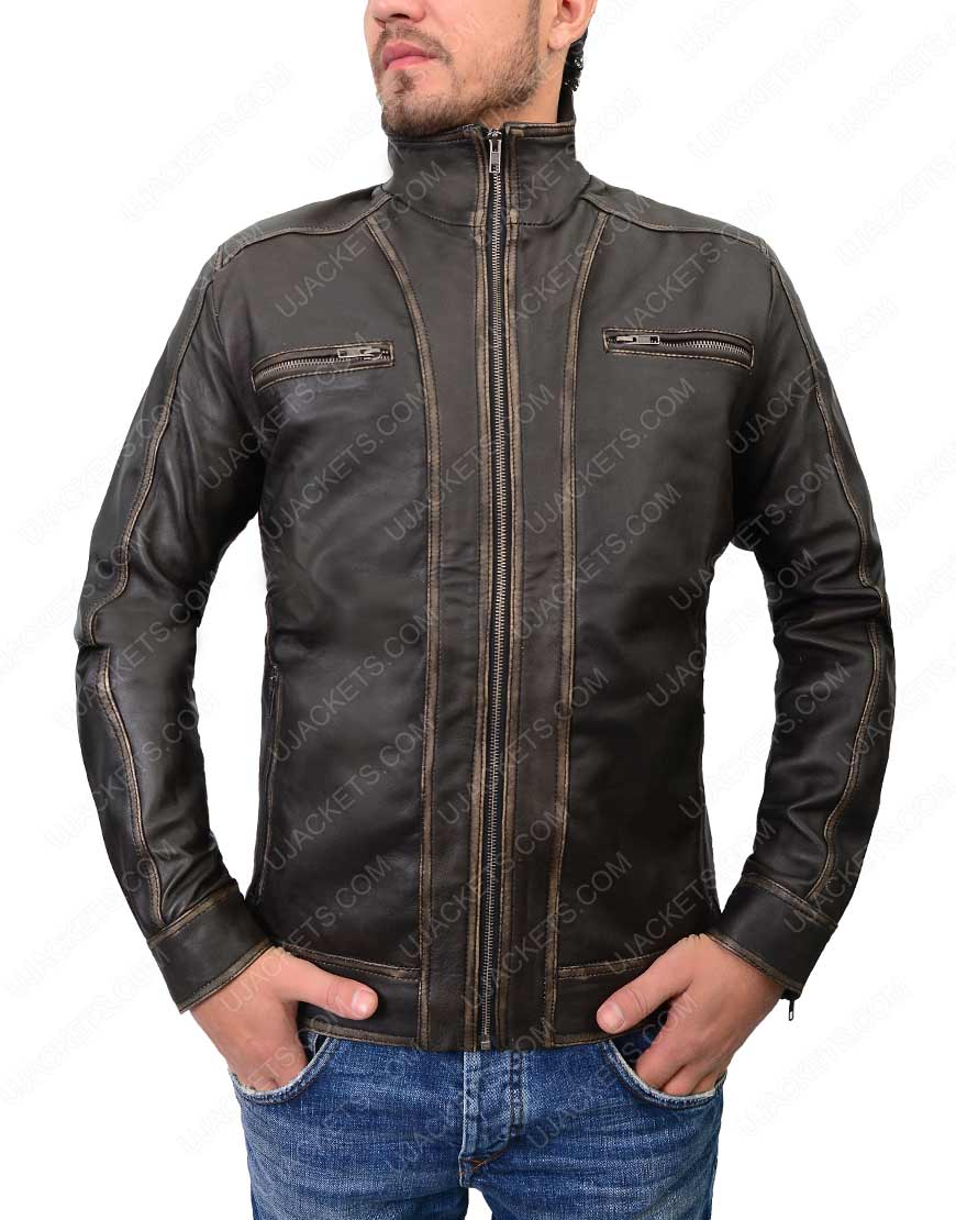 mens distressed brown café racer jacket