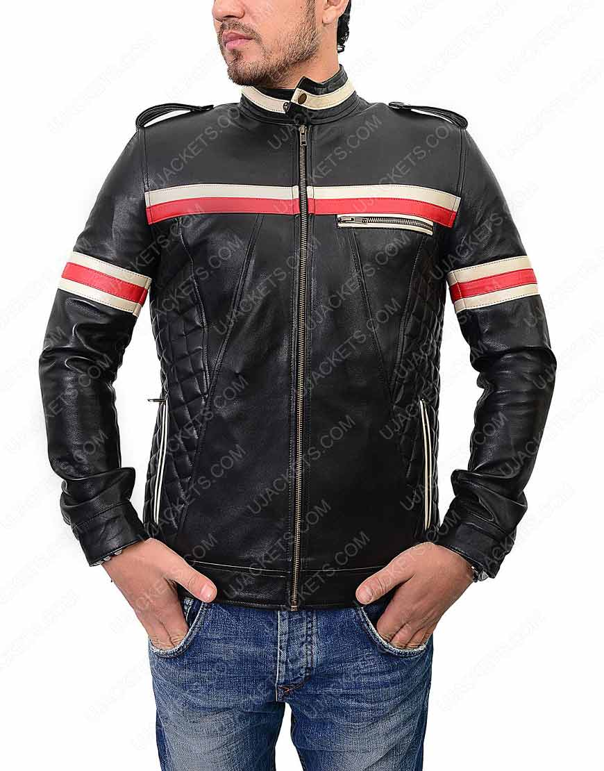 Mens Red And White Striped Motorcycle Jacket