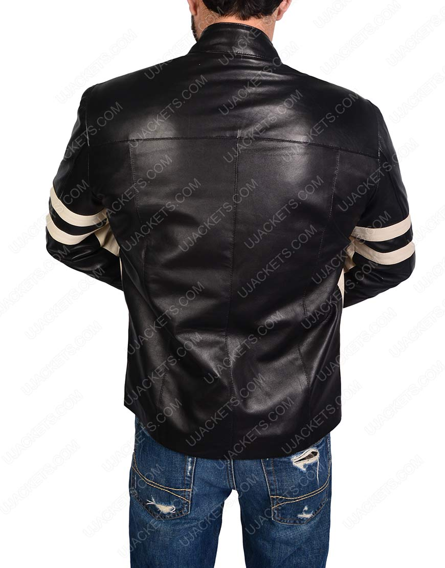 mens black leather biker jacket