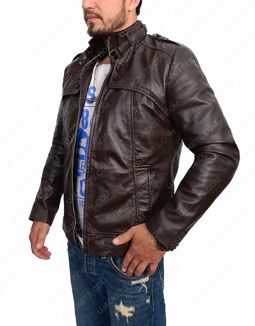 slim fit dark brown leather jacket