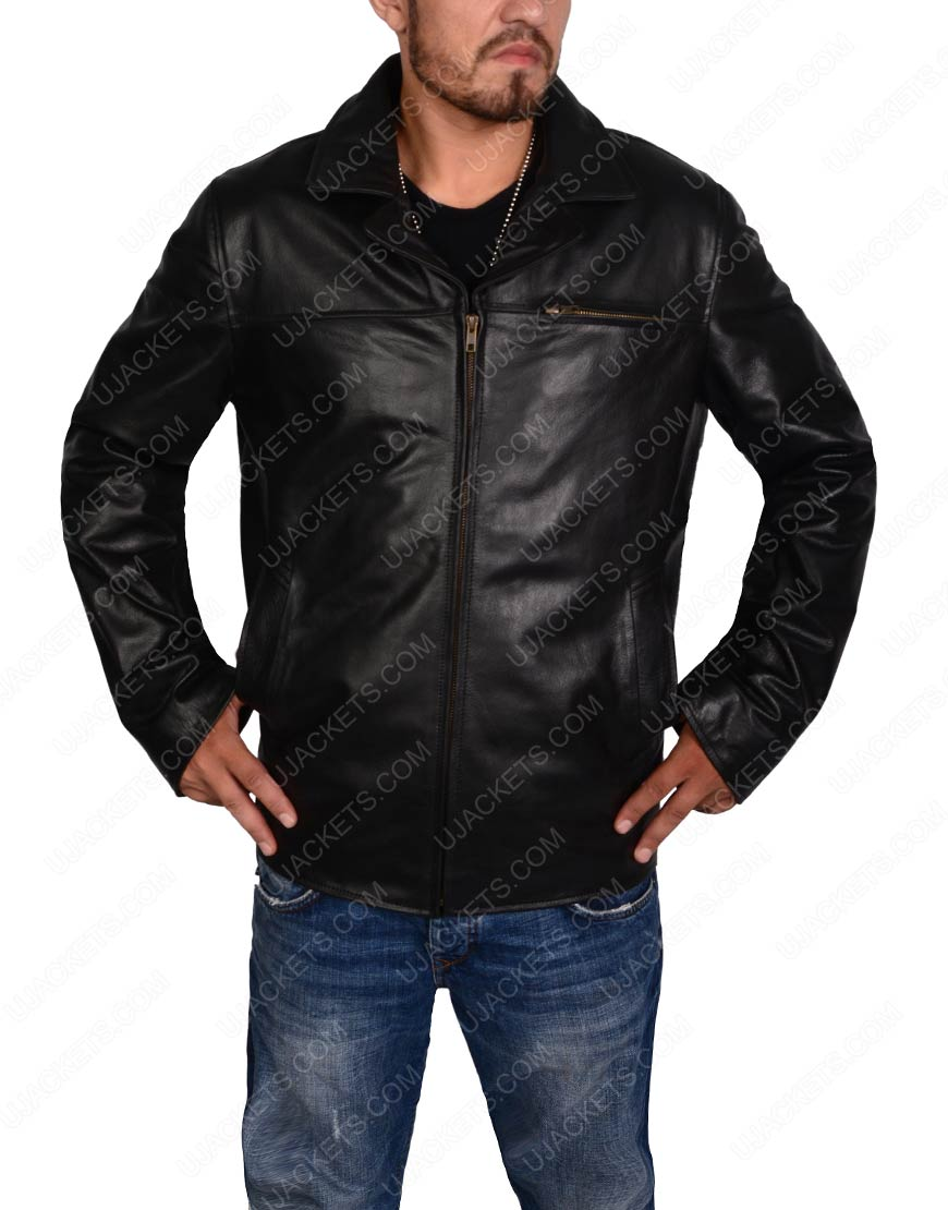 men biker slim fit black jacket