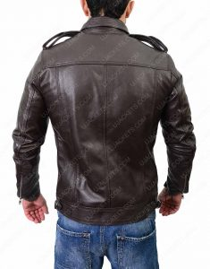 Mens Casual Dark Brown Cafe Racer Jacket