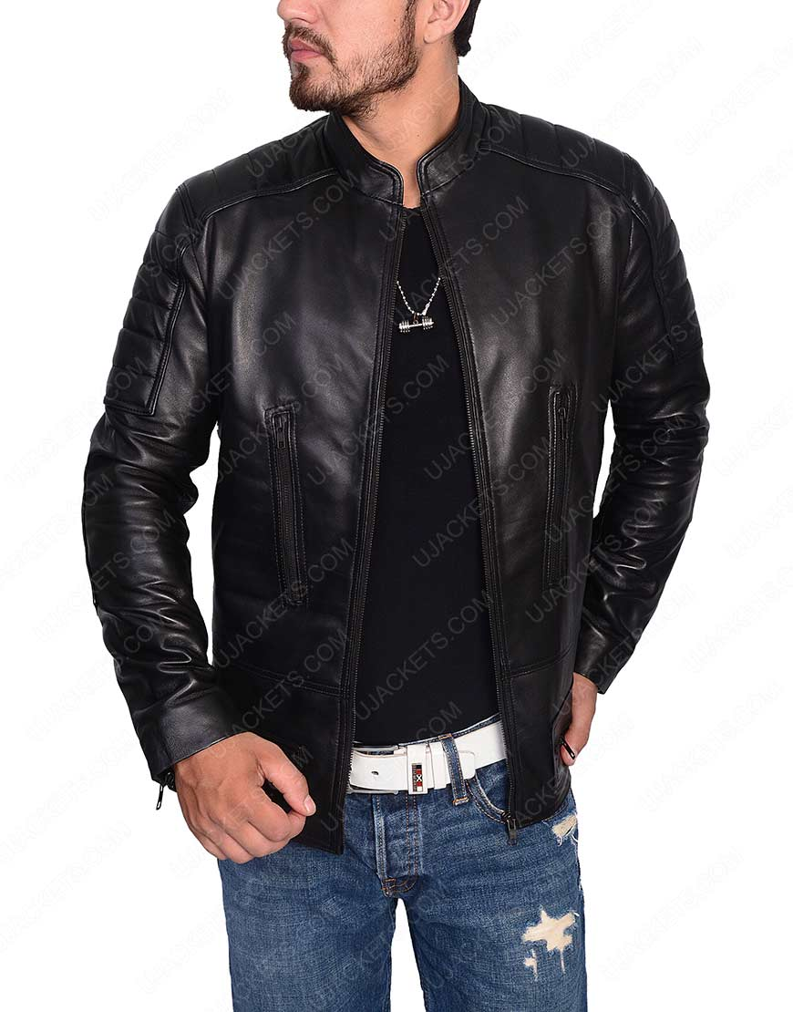 Slim Fit Cafe Racer Black leather Jacket for Mens