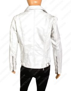 womens white quilted motorcycle leather jacket