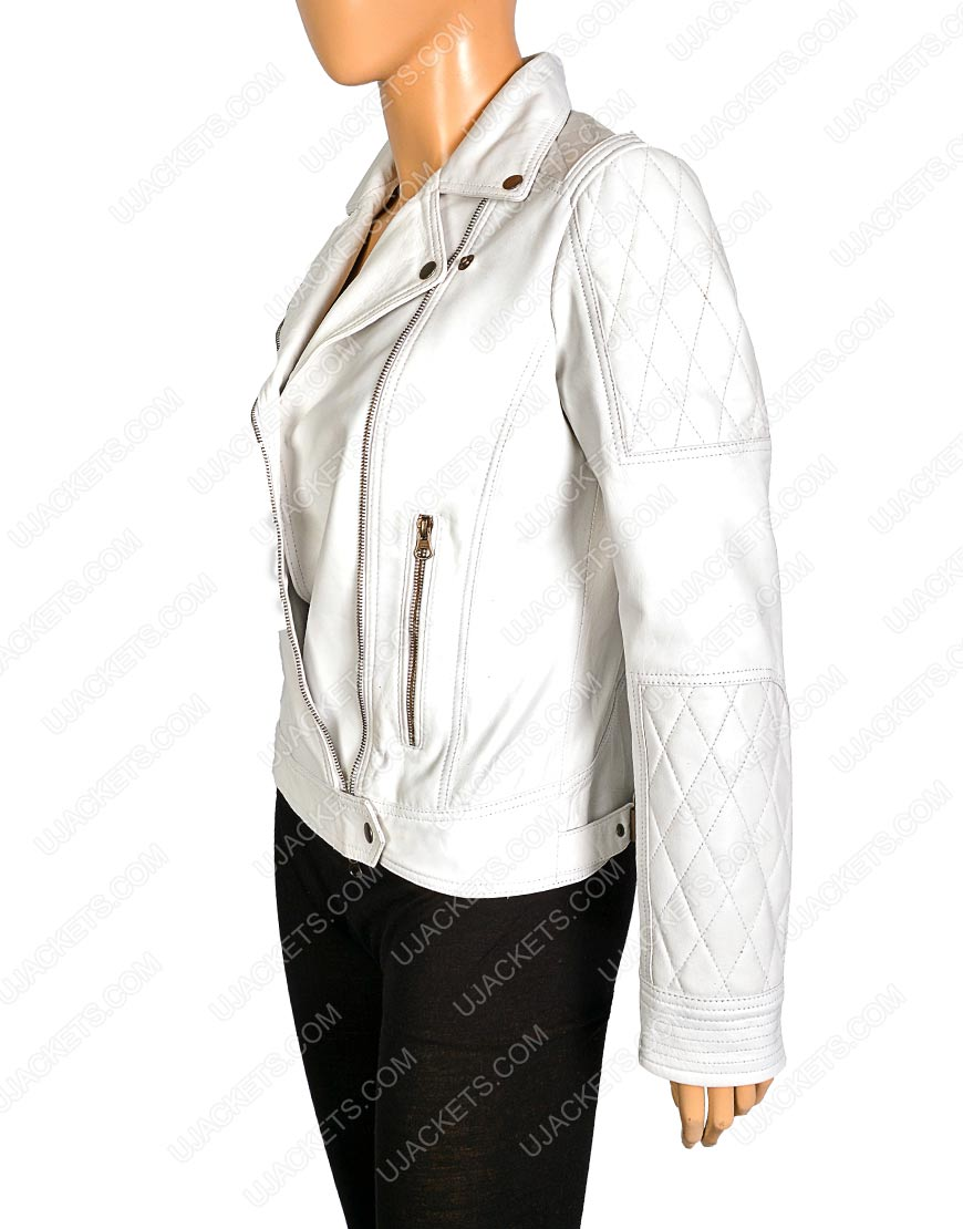 womens white quilted motorcycle jacket, womens white quilted motorcycle jacket
