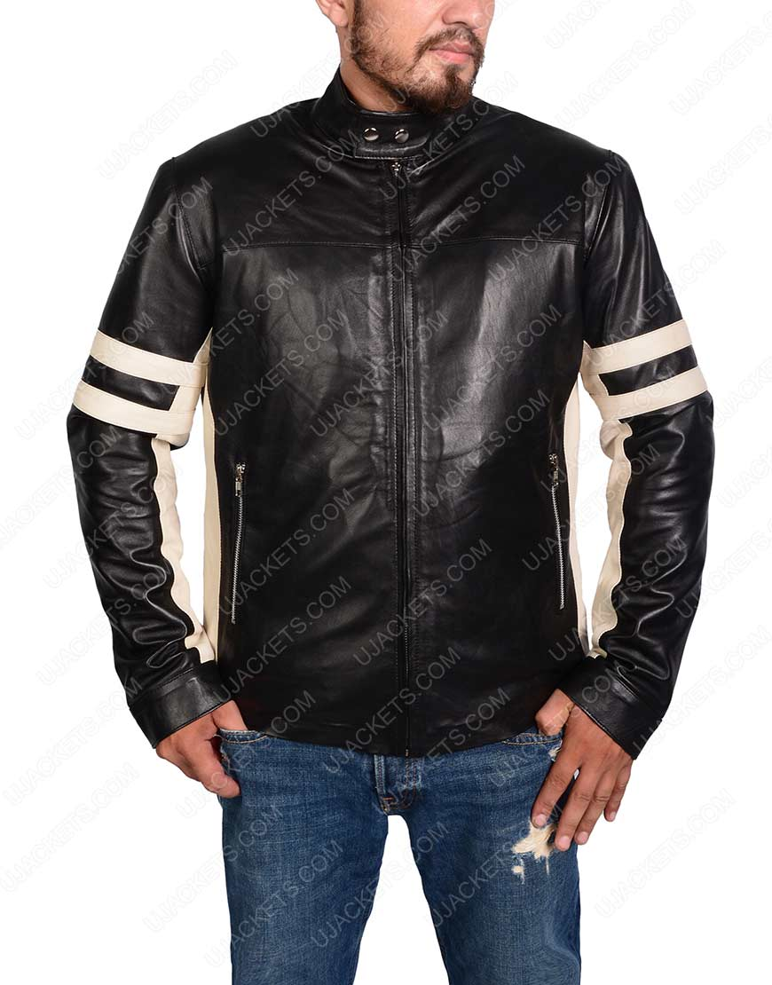 Mens Black Cafe Racer Retro Leather Jacket