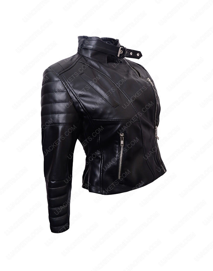 womens cropped biker jacket