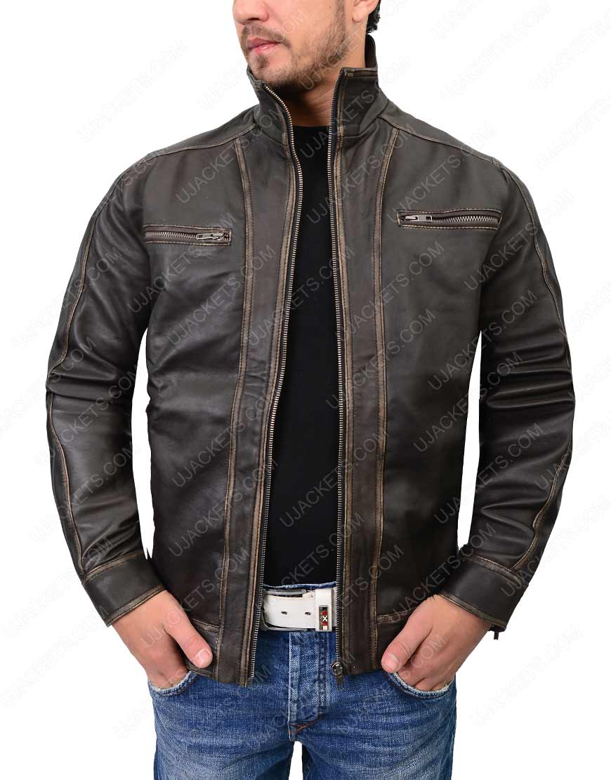 mens distressed dark brown café racer jacket