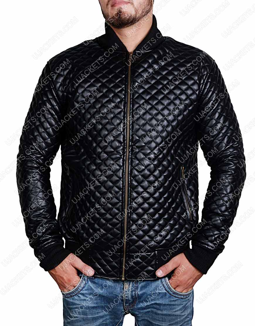 Slim Fit Black Leather Quilted Jacket For Mens