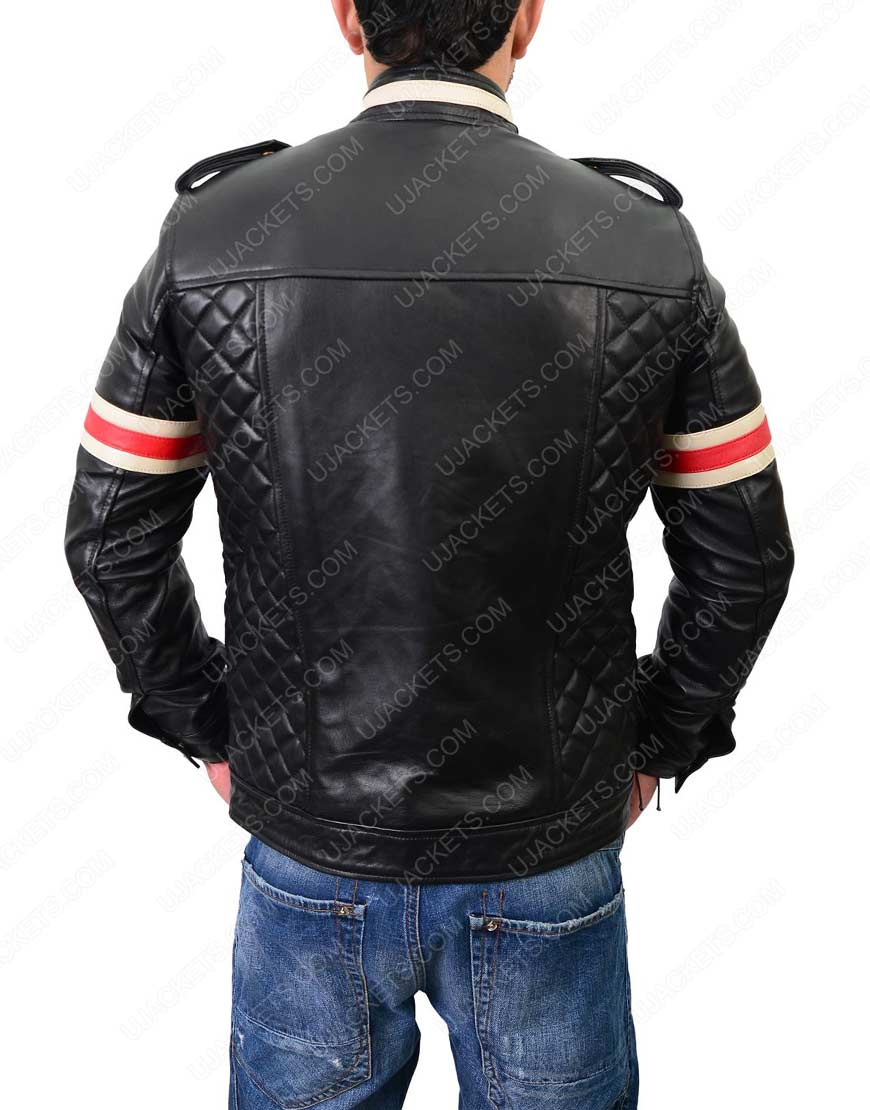 Mens Red And White Striped Motorcycle leather Jacket