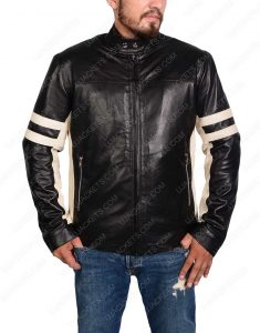 mens black leather biker jacket with stripes