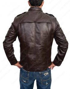 dark brown button pocket slim fit leather jacket