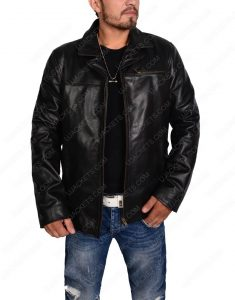 men biker slim fit black leather jacket
