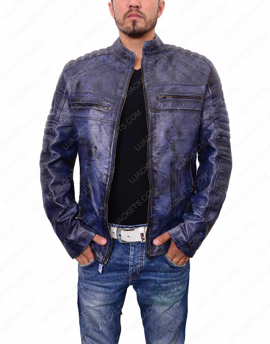 mens-cafe-racer-blue-waxed-leather-jacket
