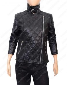 Womens Quilted Black Motorcycle Jacket