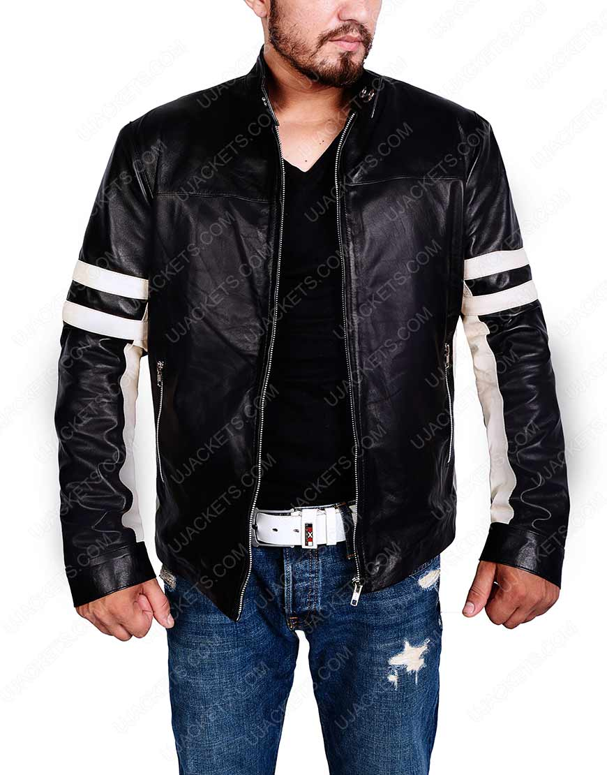 Mens Black Cafe Racer Retro Jacket