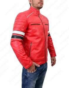mens cafe racer red leather jacket